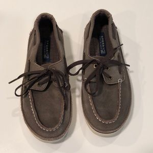 Boy's Sperry Top-spider Brown Suede Loafer Shoes